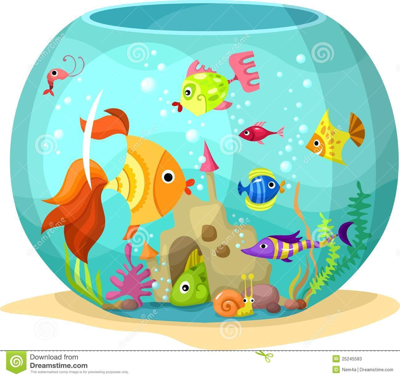 fish tank illustration.