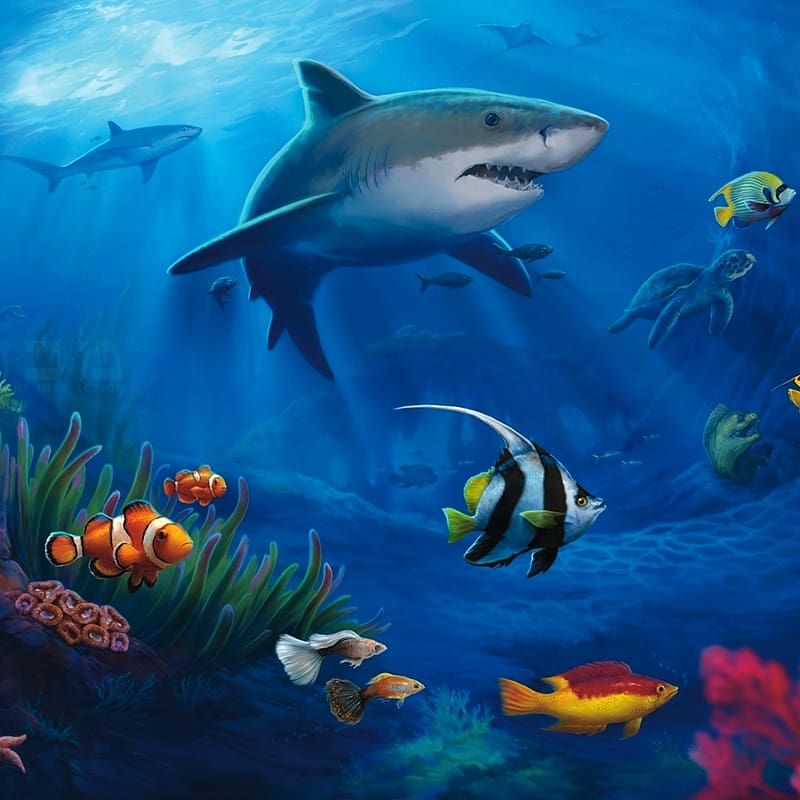 Shoal of fishes illustration, Fish Underwater Desktop Sea.