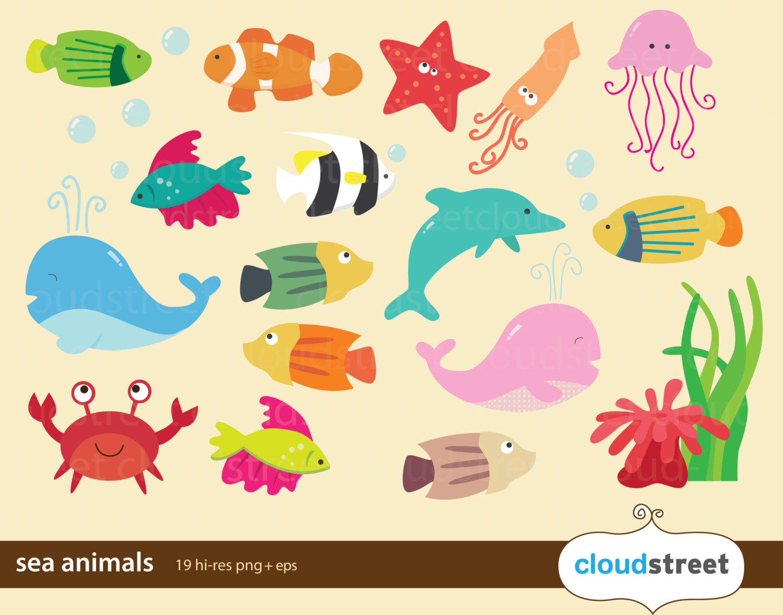 Cute sea animal clipart.