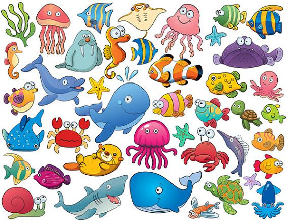 Instant Download 42 Cute Sea Animal Clip Art by OneStopDigital.
