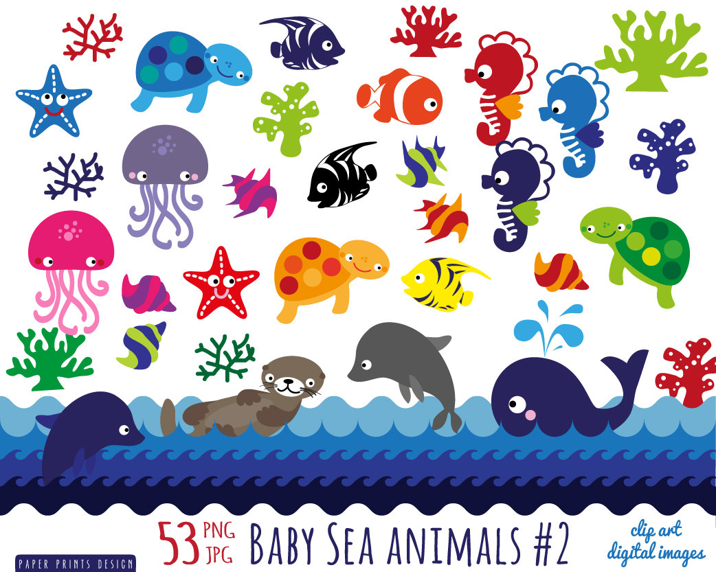 Aquatic animals clipart.