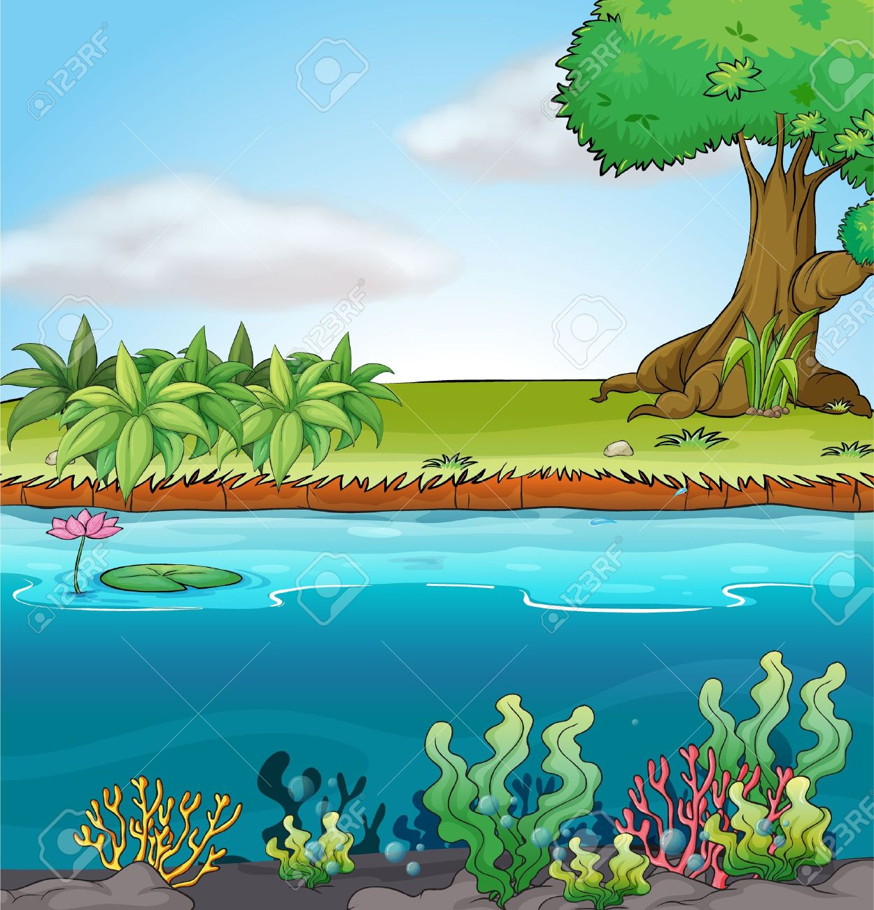 Illustration Of Land And Aquatic Environment In A Colorful.