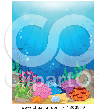 Cartoon of an Underwater Ocean Background of Sea Cliffs Corals and.