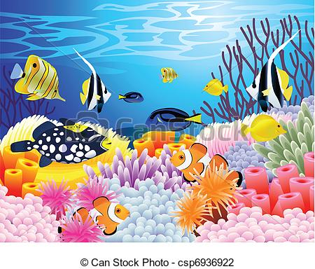 Vector Illustration of Sea life background.