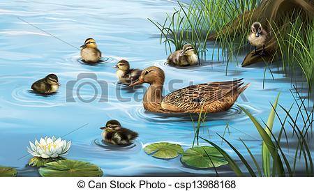 Birds in water clipart.