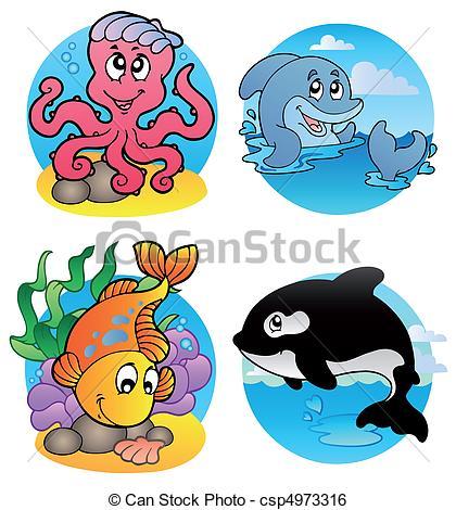 Clip Art Vector of Various aquatic animals and fishes.