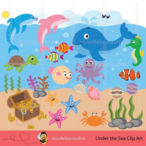 Sea Life Clipart, Sea Creatures Clip Art, Sealife Clipart.
