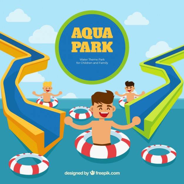 Aqua park with funny children Vector.