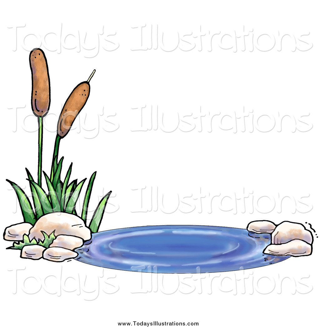 Clipart of a Pond with Aquatic Cattail Plants by Gina Jane.
