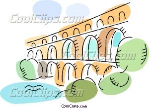 Roman Aqueducts and Walls Vector Clip art.