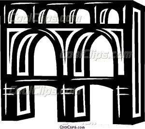 aqueduct in Italy Vector Clip art.