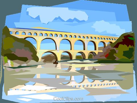 Pont du Gard Roman Aqueduct Royalty Free Vector Clip Art.