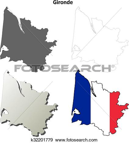 Clip Art of Gironde, Aquitaine outline map set k32201779.