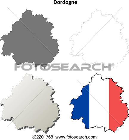 Clip Art of Dordogne, Aquitaine outline map set k32201768.