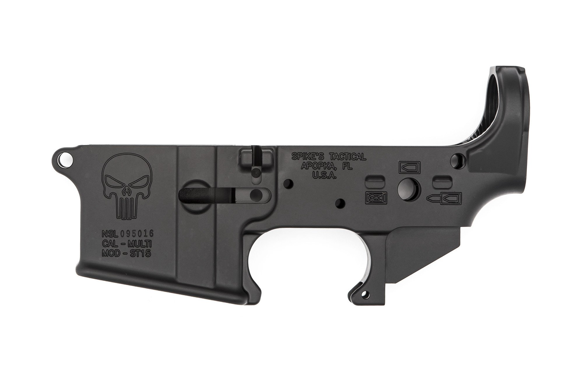 AR15 Spikes Tactical Stripped Lower Receiver / Punisher Logo / LPK / Buffer  Tube / 905218.