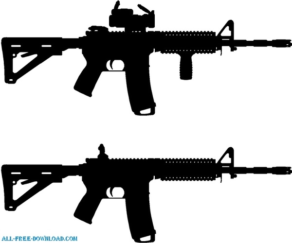AR 15 Silhouette Free vector in Encapsulated PostScript eps.