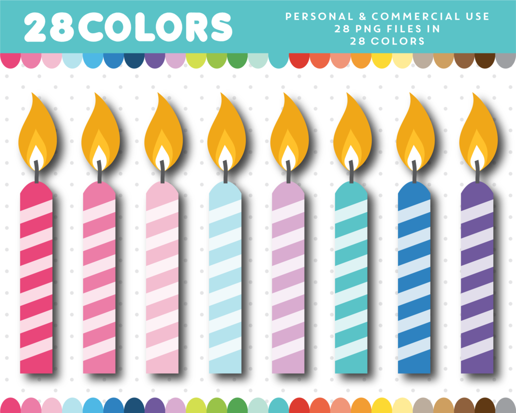 Birthday candle clipart, CL.