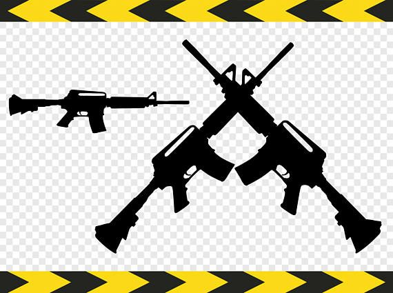 AR 15 SVG Clipart Army Crossed Guns Weapons Silhouette pictures.