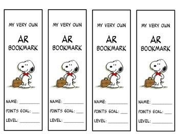Snoopy AR Bookmarks (Accelerated Reader).