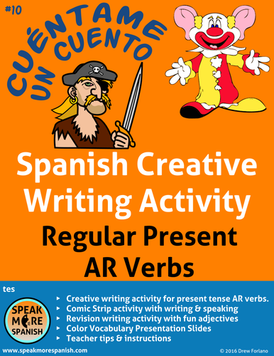 Spanish Creative Writing * Regular Present AR Verbs* Verbos Regulares con  AR * español.