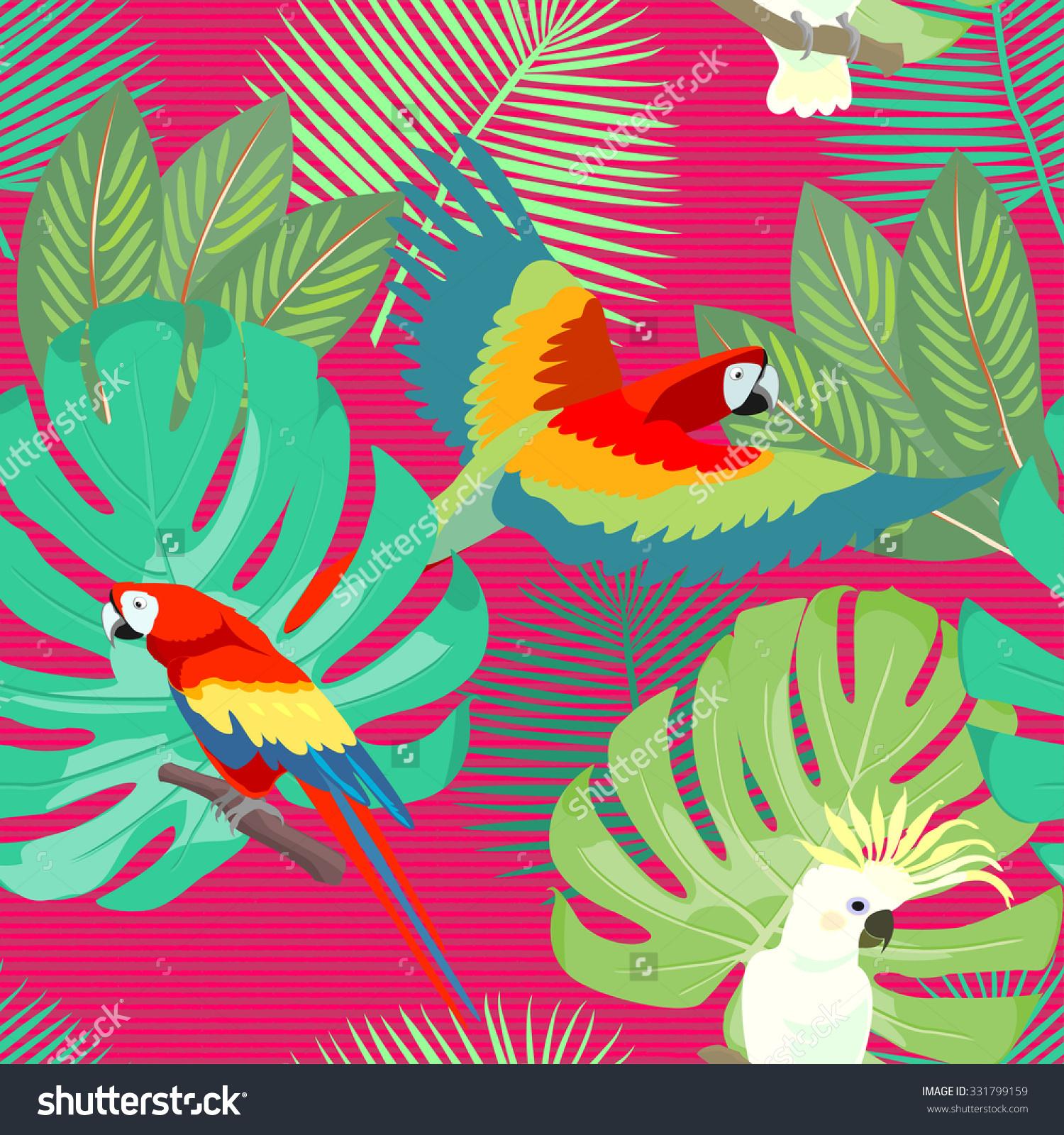 Tropical Exotic Hawaiian Floral Seamless Pattern Stock Vector.