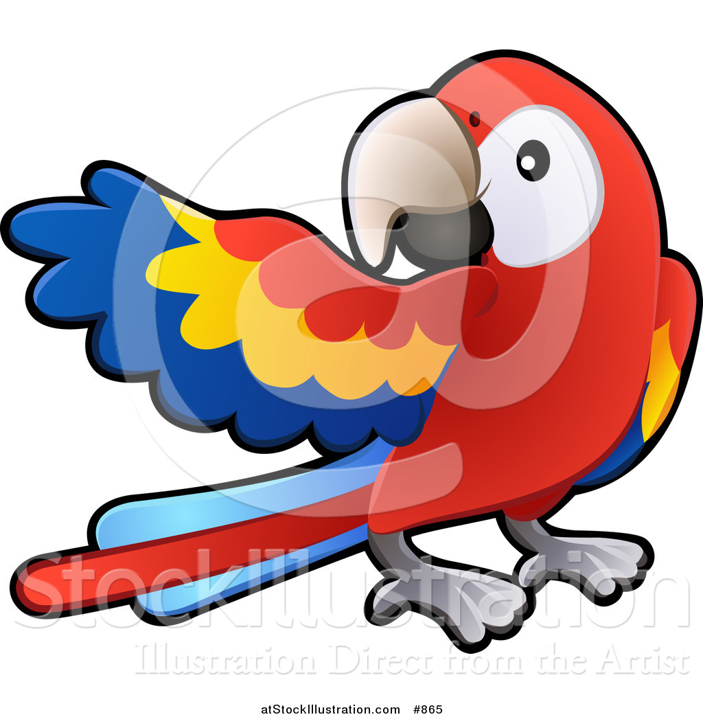 Vector Illustration of a Red, Yellow and Blue Scarlet Macaw Parrot.