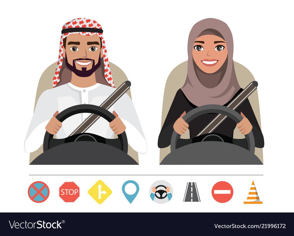 Arab man and arab woman driving a car silhouette.