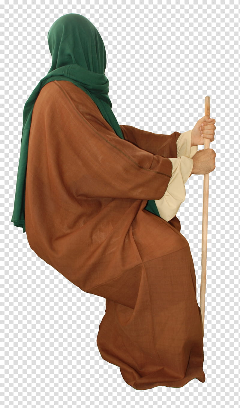 Arab old style clothes , man wearing brown thobe transparent.