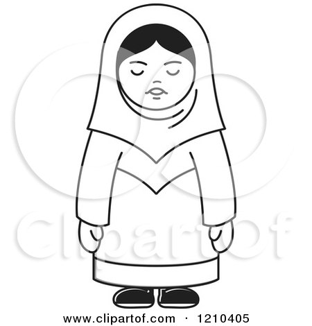 Clipart of a Black and White Happy Arabic Woman.