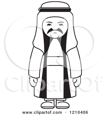 Clipart of a Happy Arabic Kid Reading a Book.