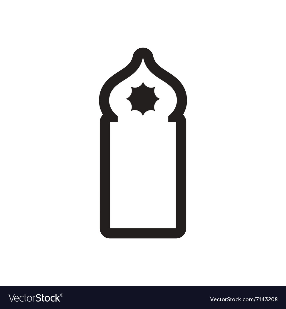 Style black and white icon Arab mosque.