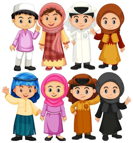 Set of arab and muslim character.