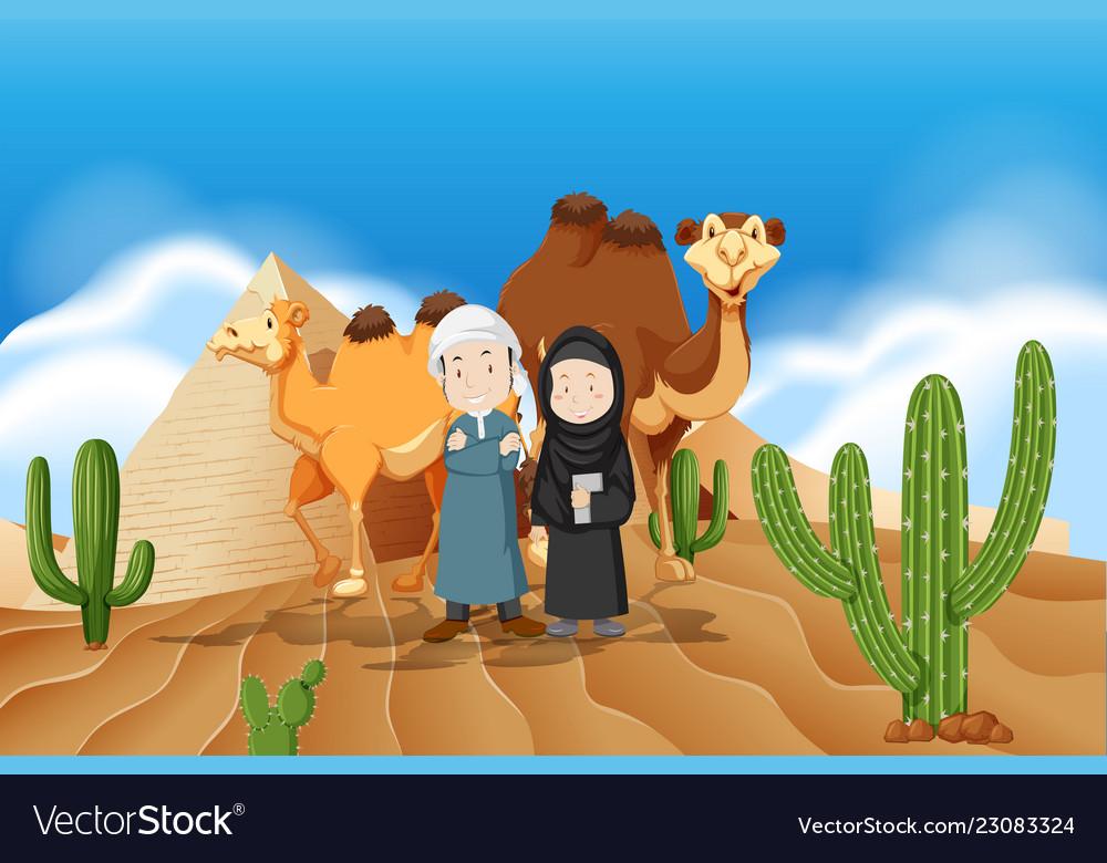 Arabic couple at desert.