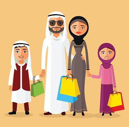 Arab couple with children shopping together. Arab family in.