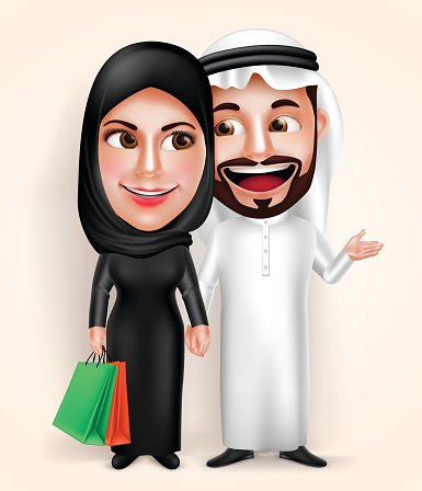 Muslim arab young couple vector characters wearing.