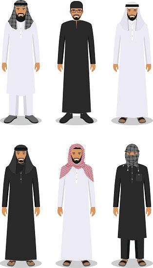 Set of Arab Men IN The Traditional Muslim Arabic Stock.