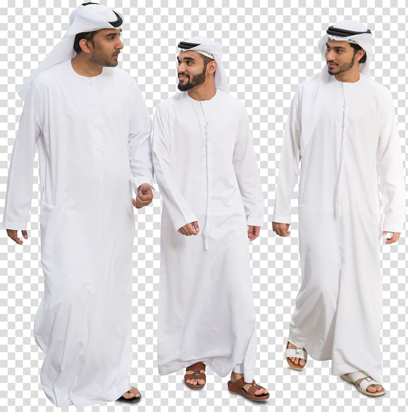 Three man wearing traditional dresses, Arabs Arab Muslims.