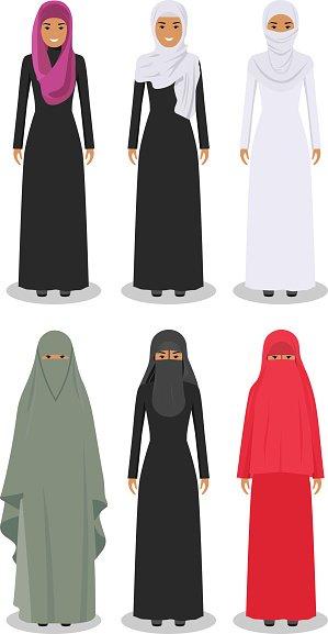 Set of arab women in the traditional muslim arabic clothing.