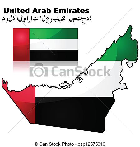 Vector Clip Art of United Arab Emirates map and flag.