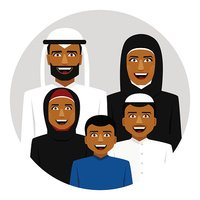 Round Icon of Smiling Arab Father, Mother, Son and Stock.