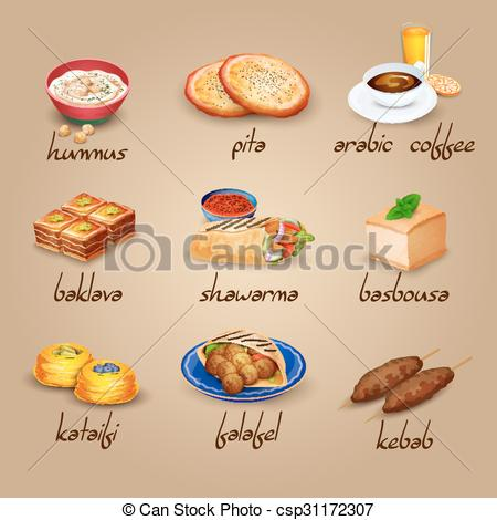 Vector Clipart of Arabic Food Set.