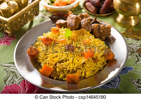 Pictures of arab rice, ramadan food in middle east usually served.