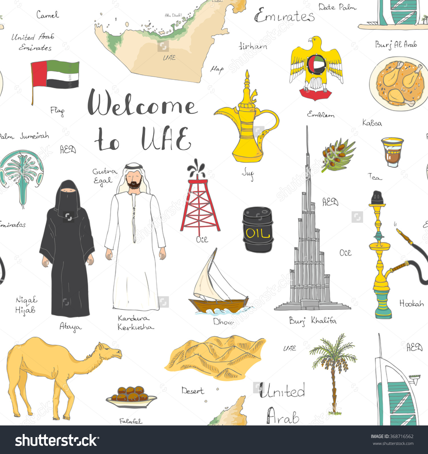 Hand Drawn Doodle Uae Set Vector Stock Vector 368716562.