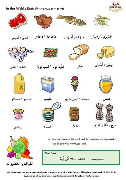 Learn Food Quantities in Arabic with audio for pronunciation.