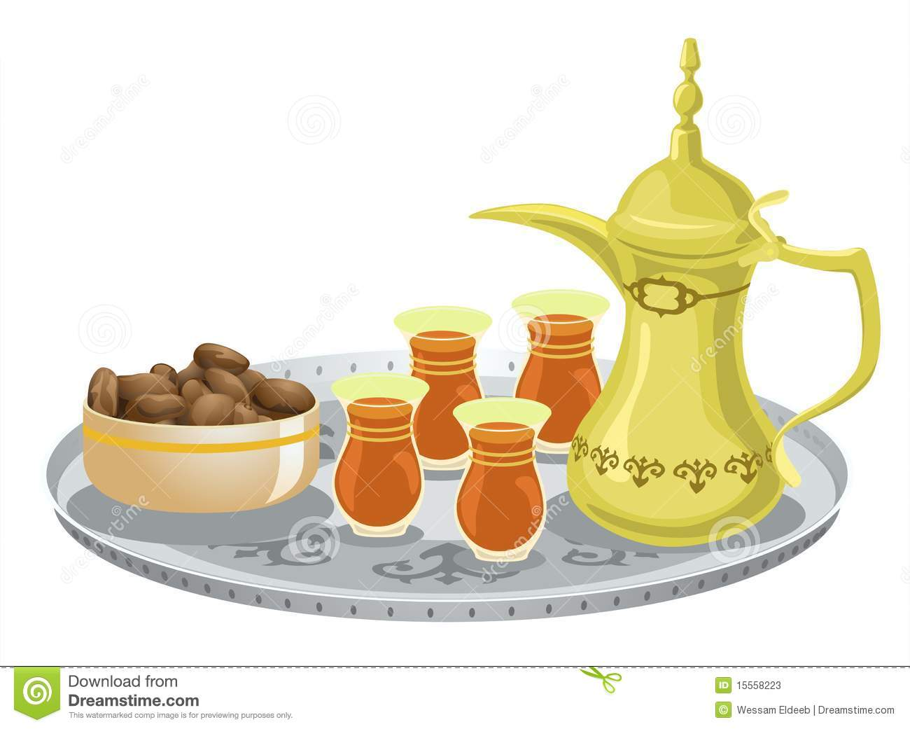 Tea Glasses And Arabian Decorated Tray 1 Royalty Free Stock Photo.