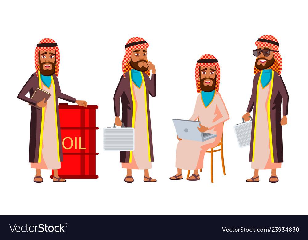 Arab muslim old man poses set elderly.