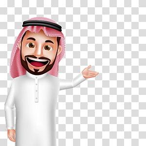 Male profile , Cartoon Hookah , arab transparent background.