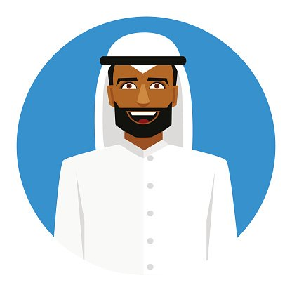 Round icon with smiling arab man in traditional muslim hat.