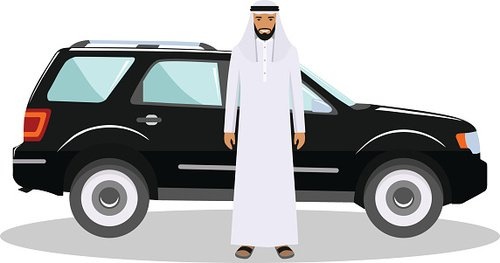 Arab man standing near the car in traditional islamic.