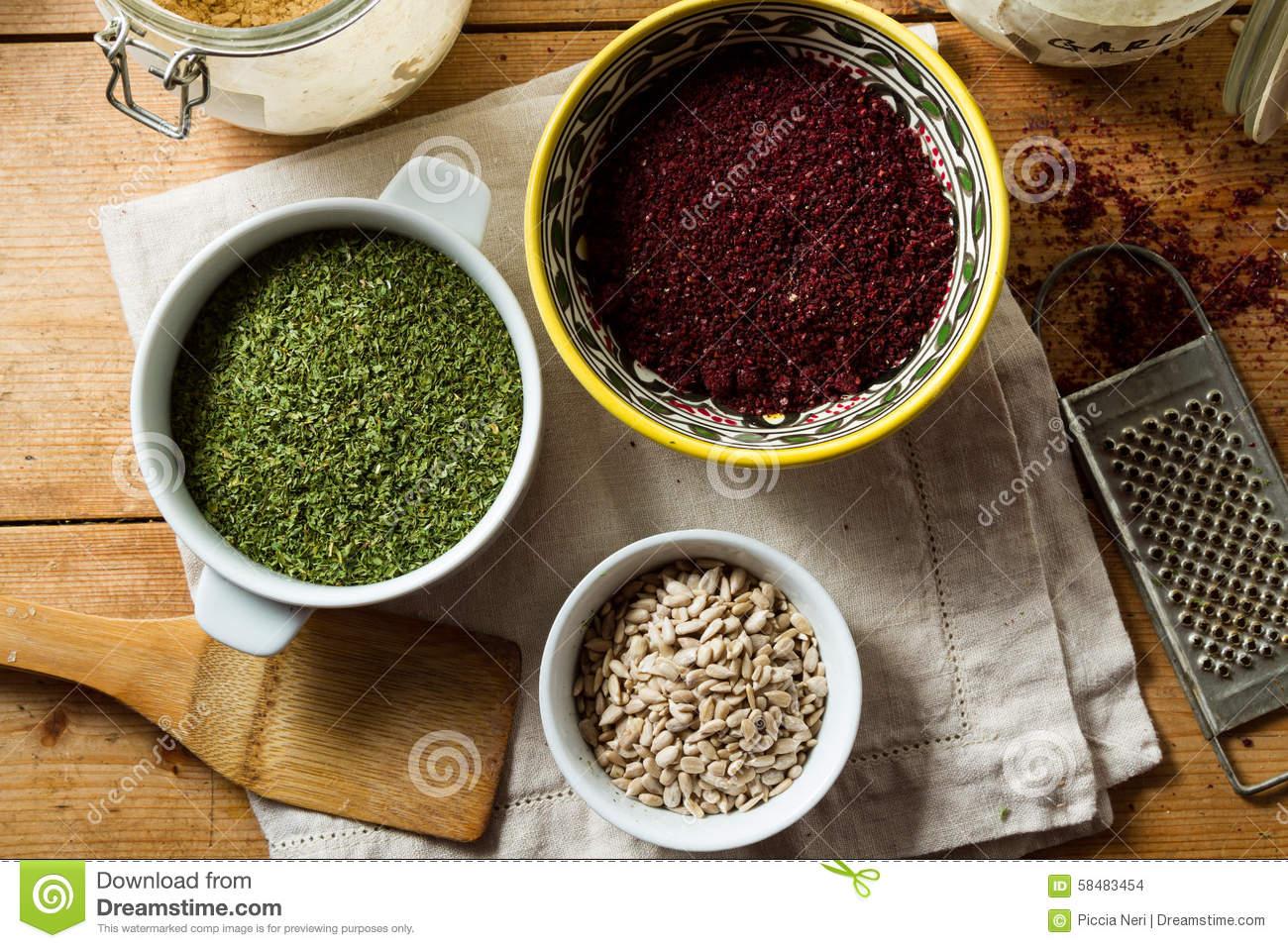 Middle Eastern Cuisine: Sumac, Parsley, Sunflower Seeds Stock.